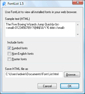 Click to view FontList 1.5 screenshot